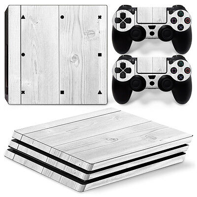 Sony PS4 PlayStation 4 Pro Skin Sticker Screen Protector Set - White Wood Motif