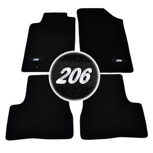 tapis sol moquette logo blanc sur mesure peugeot 206 206sw xn xt xs s16 rc ebay. Black Bedroom Furniture Sets. Home Design Ideas