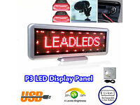 P3 Programmable Red LED Scrolling Text Moving Message Display Panel Rechargeable 56x11cm