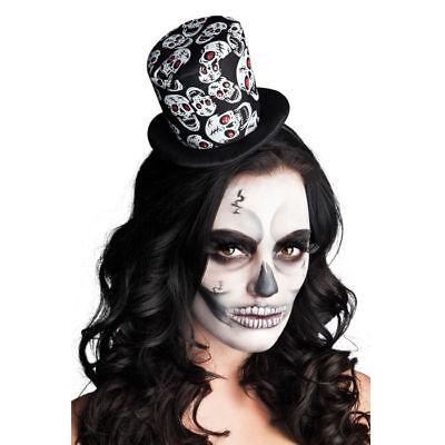 Mini Zylinder Totenköpfe, Tag der Toten Halloweenkostüm Zubehör Mexiko - Tag Der Toten Kostüm Haar