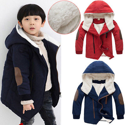 Child Kids Baby Boy Winter Warm Hooded Coat Thick Jacket Cotton-padded Outwear   Baby Boy Winter Coats