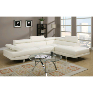 Armadale Sectional White Leather Sofa