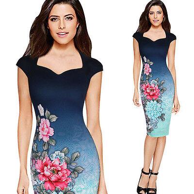 Damen Blumenmuster Etuikleid Bodycon Kleid Blau Pencil Abendkleid Knielang Ball online kaufen