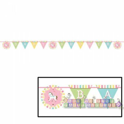 BABY SHOWER Carousel BANNER ~ Party Supplies Hanging Decoration Paper Pastel