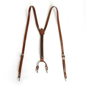 Mens Leather Suspenders Y-Back Retro Braces Clip-On Brown M size 40