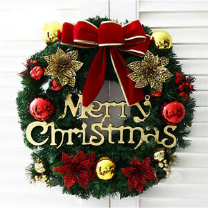 36Cm Christmas Large Wreath Door Wall Ornament Garland Decoration Red Bowknot AU