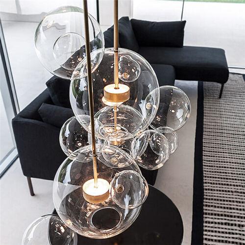 Modern LED Clear Glass Soap Bubble Pendant Lamp Chandelier C