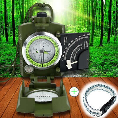 Professional Military Army Metal Sighting Compass Clinometer +Outdoor rescue rop
