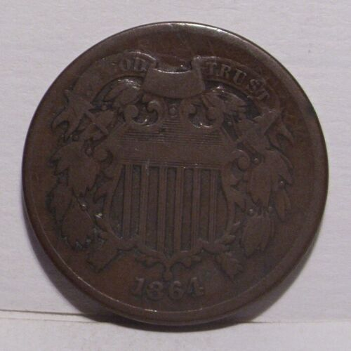 1864 Two Cent Piece , Large Motto , VG