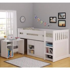 Seconique Merlin Study Mid Sleeper in White - Exclusive To Us!