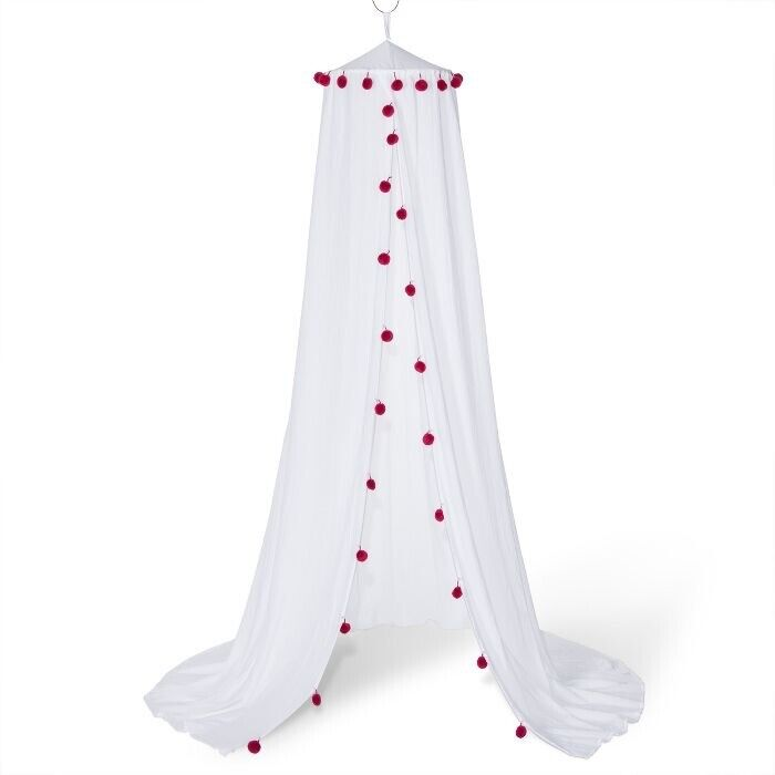 PILLOWFORT Pom Pom Bed Canopy | White/Berry | 🆕 In Open Box