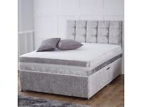 New Crushed Velvet Double bed with Mattress, headboard & base £199 New double divan bed £199 set