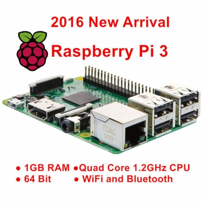 Rasberry Pi 3 Model B Mother Board Wireless Lan 1GB RAM 1.2GHz Quad Core 64Bit