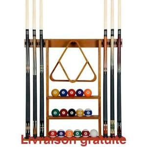 Support accessoires de billard /  6 Pool Cue-Billiard Stick Wall Rack