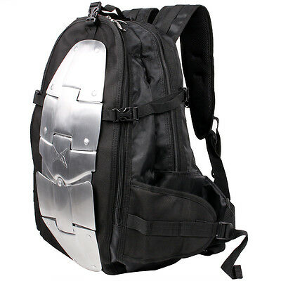 Black Motorcycle Aluminum Armor Riding Street Dual-Sport Bike Backpack Gear Bag