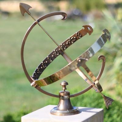 Small Antique Brass Profatius Arrow Table Top Armillary Sundial