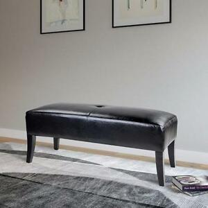 Black Leather Bench Ottoman