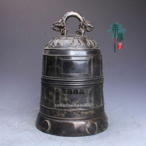 China old Pure Bronze Copper Buddhism Temple Hit the clock Dragon Bell