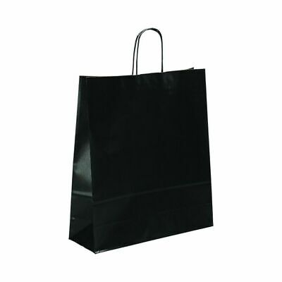 CLEARANCE! 50 Pack Medium Large Black Kraft Ribbed Paper Carrier Bags 36x12x41cm
