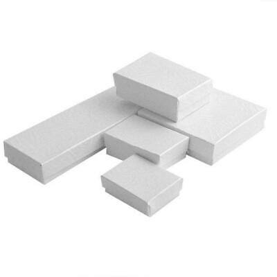 100 Swirl White Cotton Filled Jewelry Assortment Boxes