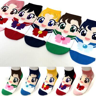 5 Pairs Women Girls Big Kids Fashion Princess Cute Sailor Moon Character Socks