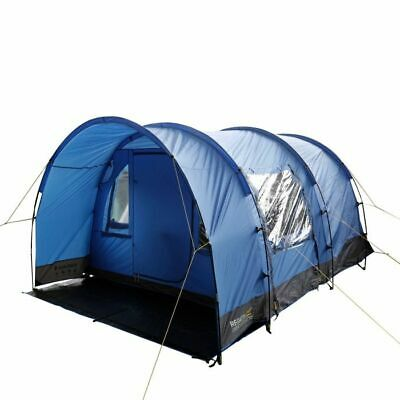 Regatta Karuna Family Camping Tunnel Tent, Nautical Grey/Laser Blue, 4 person...