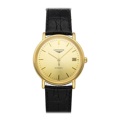 Longines Presence Auto Gold Plated Mens Strap Watch Date L4.821.2.32.2