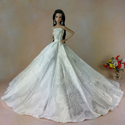 White Fashion Royalty Princess Party Dress&Wedding Clothes/Gown For Barbie Doll