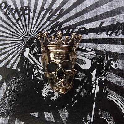 Bronze Kennzeichenschraube Zierschraube Skull King für Motorrad und Hot Rod