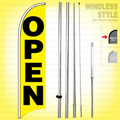 Open - Windless Swooper Flag Kit 15 Feather Banner Sign Yb-h