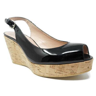 Stuart Weitzman Womens Cork Wedge Sandals 11 Jean Black Patent Leather Slingback
