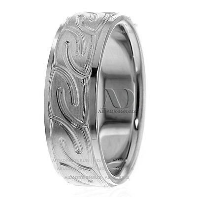 - Men's Modern Celtic Wedding Band Ring Solid 14K White Gold 7mm Wide Comfort Fit