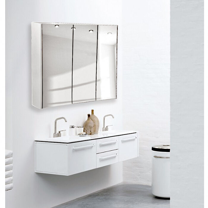wall mount mirror bathroom cabinet storage cupboard gloss white uk