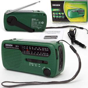 Original Degen DE13 AM FM SW  Crank Dynamo Solar Powered World Receiver Radio