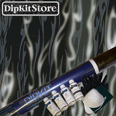 Hydrographics Hydro Dip Kit With Activator Black Silver Clear Flames Ll-13-07