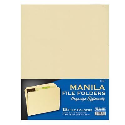 12 Pcs Letter Size Manila File Folder Three Tab Position File Folder