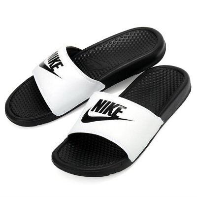 Nike Benassi JDI Men's Slide White/ Black Slipper 343880-100 Free Shipping