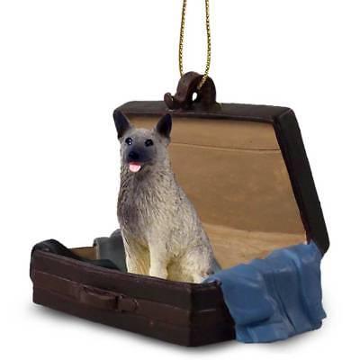 Norwegian Elkhound Traveling Companion Dog Figurine In SuitCase Ornament