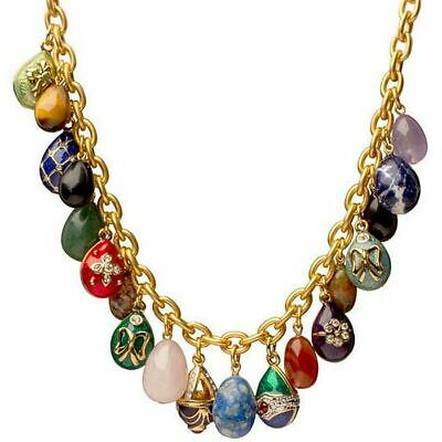 Faberge Egg Necklaces (Faberge Inspired Miniature Egg Pendant Necklace with Natural Egg Gemstones 22