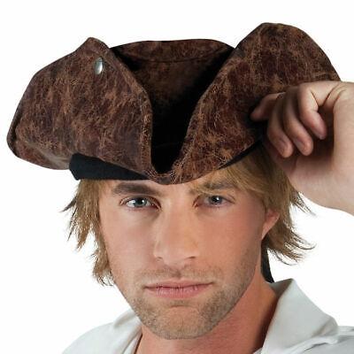 Piratenhut Dreispitz braune Lederoptik, Piratenkostüm Zubehör - Piraten Hut Kostüme