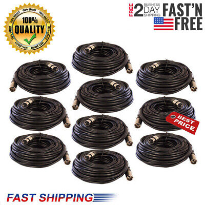 """10 Pack Lot 25ft XLR 3-Pin Male to 1//4/"""" Mono Shielded Microphone Mic Audio Cable"""