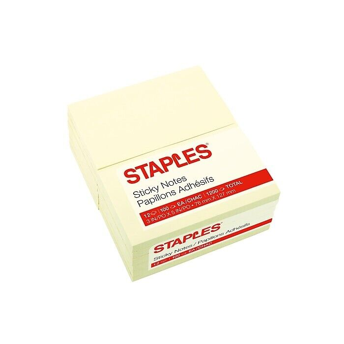 "Staples Stickies Recycled Notes 3"" x 5"" Yellow 12 Pads/Pack (S-35YR12) 105825"