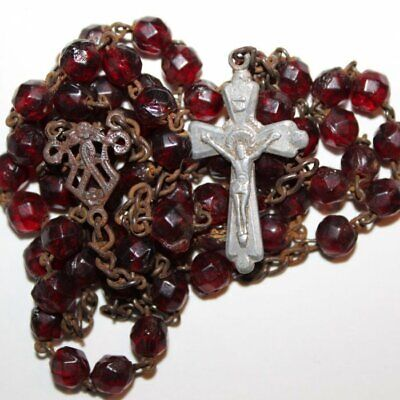 Gold chain bright red iridescent glass rosary beads Mary center Catholic in box