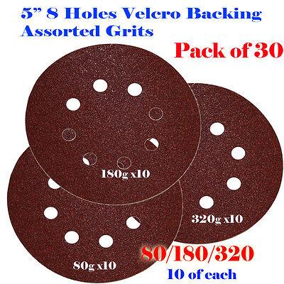 5 8 Hole Grit Sanding Disc Random Orbit Hook Loop Sandpaper Sander 80180320
