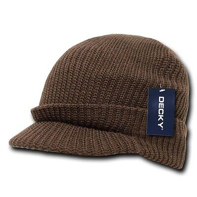 NEW VISOR BEANIE JEEP KNIT MILITARY CAP SKI HAT BROWN