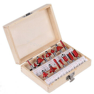 15pcskit 14 Shank Woodworking Tungsten Carbide Tipped Router Bits Case