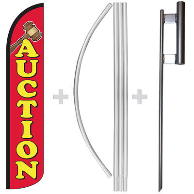 Auction 15 Tall Windless Swooper Feather Banner Flag Pole Kit