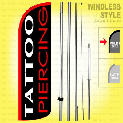 Tattoo Piercing - Windless Swooper Flag Kit 15 Tall Feather Banner Sign Kq-h