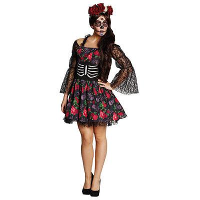 Damen-Kostüm La Catrina, Kleid mit Blumen Halloween Mexiko Tanz der Toten