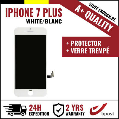 A+ LCD SCREEN VITRE SCHERM ÉCRAN WHITE BLANC +VERRE TREMPÉ FOR IPHONE 7 PLUS